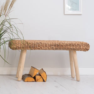 Wooden Hallway Bench With Wicker