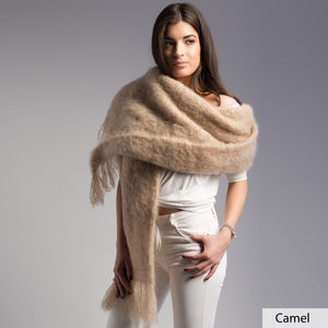 Fluffy Mohair Blanket Scarf - ponchos & wraps