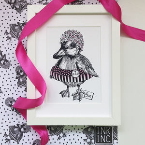 Personalised Pink Duckling Art Print - drawings & illustrations