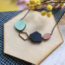 Geometric Abstract Gemstone Wooden Necklace