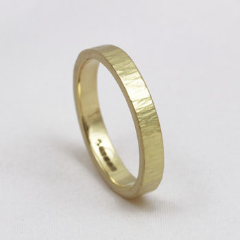 3mm Flat Profile 18ct Gold 'Coul' Wedding Ring