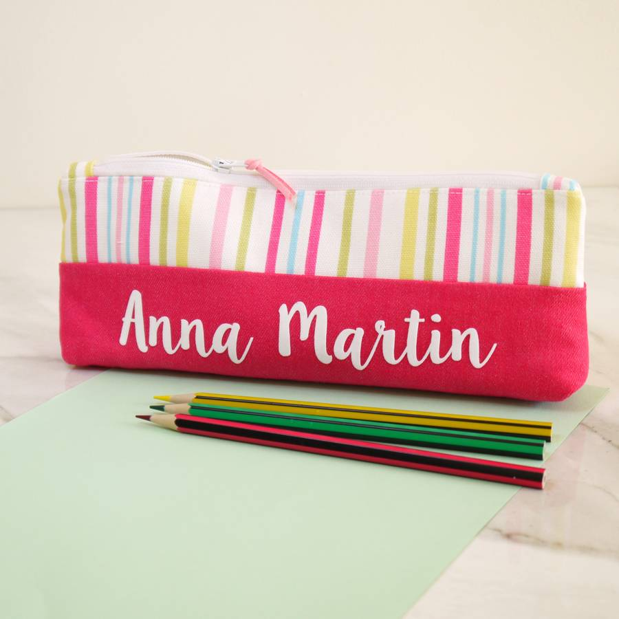 Personalised Striped Design Pencil Case