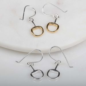Solid Silver Snaffle Earrings With Gold Detail - new in jewellery