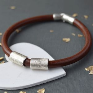Mens Leather And Silver Fingerprint Bead Bracelet - gifts for him