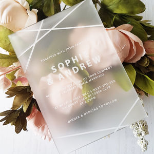 Geometric Perspex Wedding Invitation - new in wedding styling