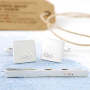 Personalised Silver Infinity Cufflink And Tie Gift Set - wedding jewellery