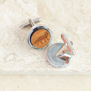 Personalised Wooden Fox Cufflinks - cufflinks