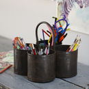 Steel 'Thali' Pen Pot And Desk Tidy
