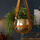 Hanging Brass And Leather Planter