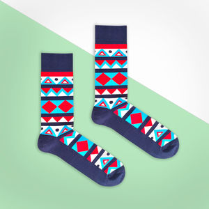 Blue And Red Aztec Sock - socks