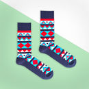 Blue And Red Aztec Sock