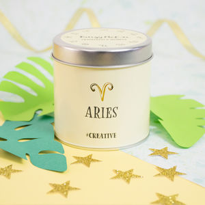 'Aries' Zodiac Grapefruit And Mimosa Scented Candle - candles & home fragrance