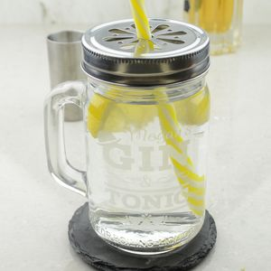 Personalised Gin And Tonic Drinking Jar - drink & barware