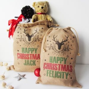Personalised Christmas Sack With Stag Print - children's room