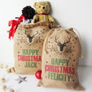 Personalised Christmas Sack With Stag Print