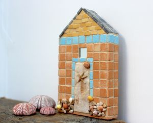 Yellow Brick Beach Hut Mosaic Coastal Wall Art