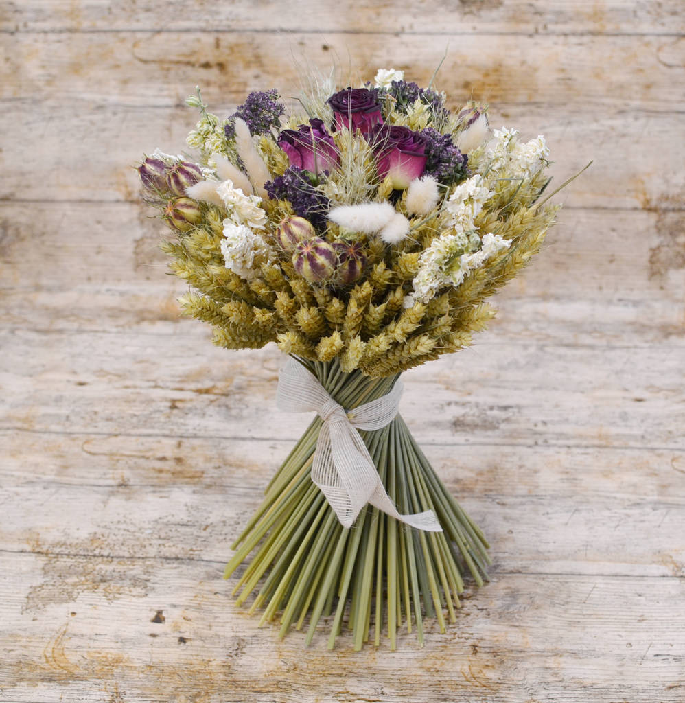 Valentine S Day Burgundy Dried Flower Wheat Bouquet By Shropshire Petals Notonthehighstreet Com
