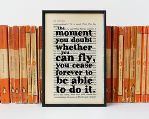 "Peter Pan ""The Moment You Doubt You Can Fly…"" Book Art"