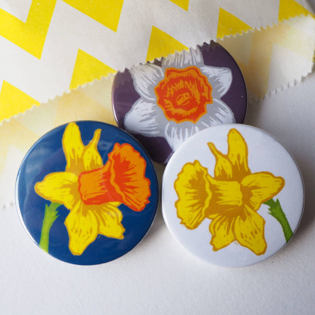Spring Daffodil Flowers Badge Set