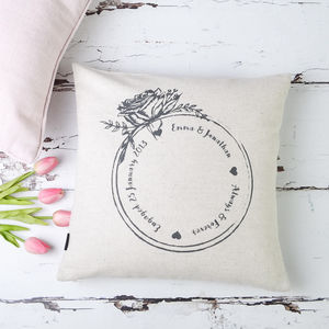 Engagement Ring Personalised Couple Cushion Cover - new lines added