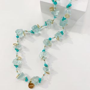 Bcharmd Aquamarine And Turquoise Long Bead Necklace