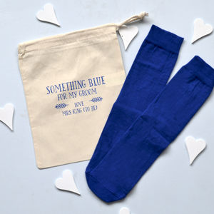Personalised Something Blue Groom's Socks