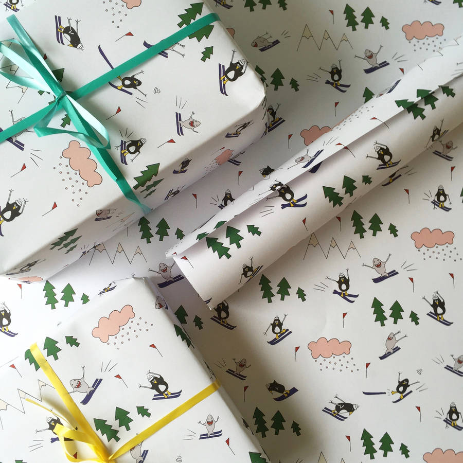 penguin and shark go skiing wrapping paper by terri leahy penguin and shark go skiing wrapping paper