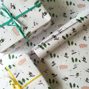 Penguin And Shark Go Skiing Wrapping Paper