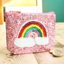 Personalised Girls Rainbow Glitter Coin Purse Gift