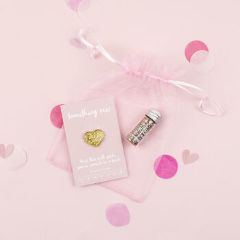 Bride To Be Gold Heart Pin And Body Glitter