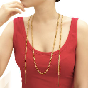 Double Bar Long Summer Gold Necklace - necklaces & pendants