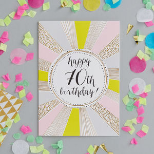 70th Birthday Foiled Greetings Card - birthday cards