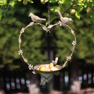 Hanging Heart Bird Feeder Bath Dish