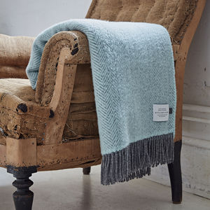 Cashmere And Merino Duck Egg Blue Throw - blankets & throws