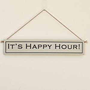 'It's Happy Hour!' Hand Painted Wooden Sign