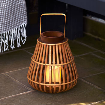 Bamboo LED Candle Lantern