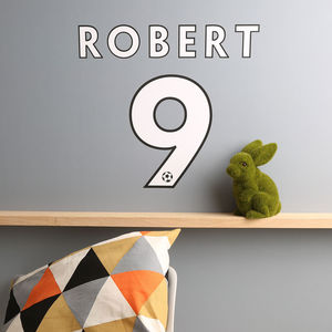 Personalised Football Name And Number Wall Sticker