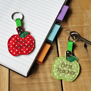 Personalised Apple Key Ring Teacher Gift - keyrings