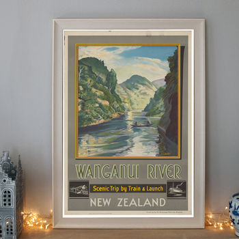 Vintage Wanganui New Zealand Art Deco Travel Poster