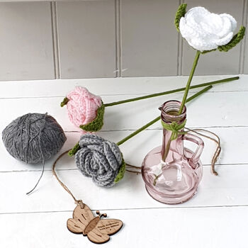 Personalised 7th Anniversary Wool Rose With Vase