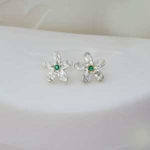 Emerald And Silver Flower Earrings