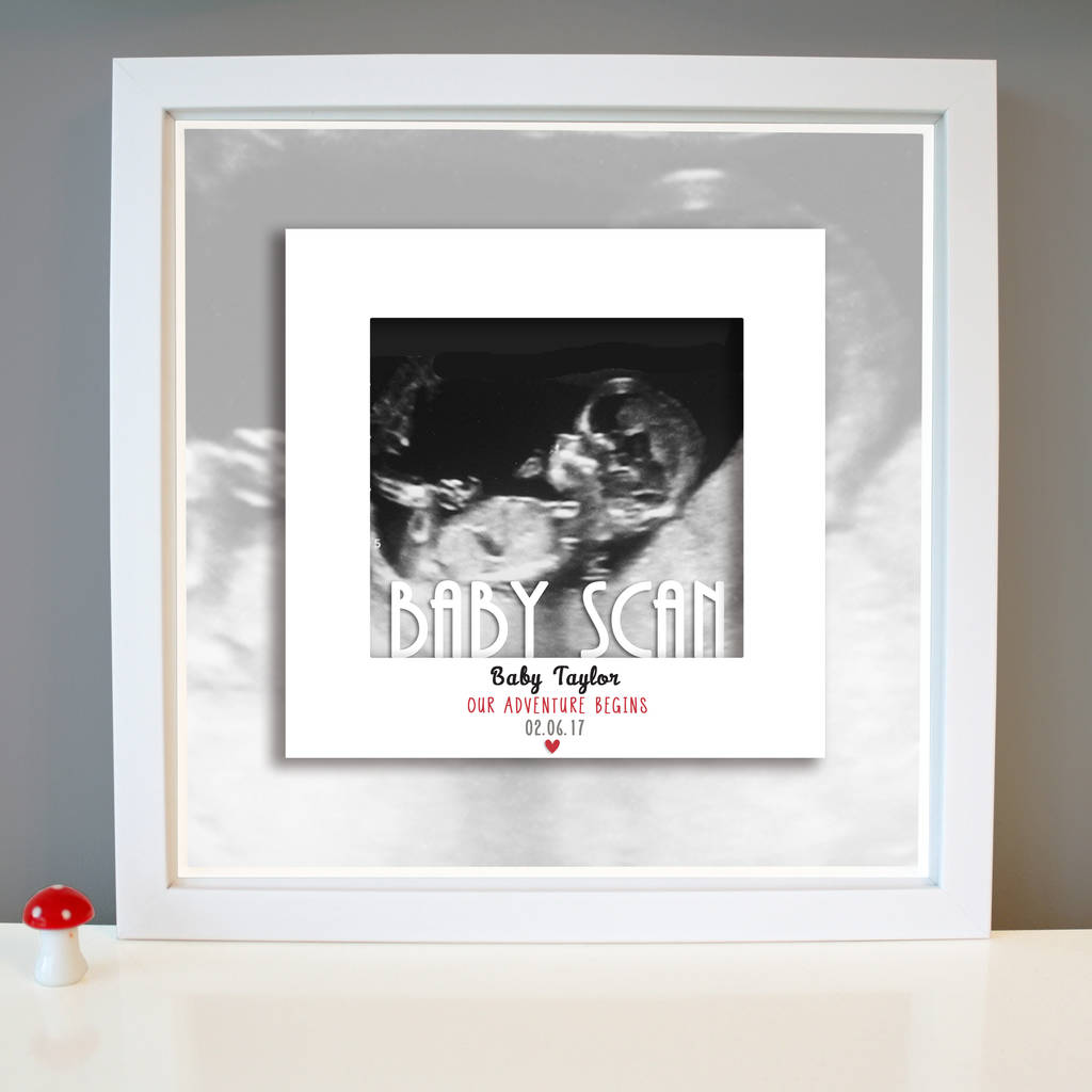 personalised baby scan announcement framed print by the little paper ...