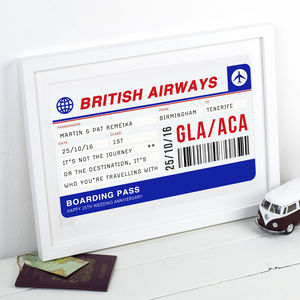 Personalised Boarding Pass Print - treasured locations & memories