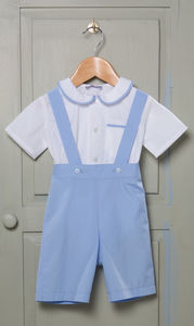 James Shirt And Romper Shorts 100% Cotton Pale Blue - party wear