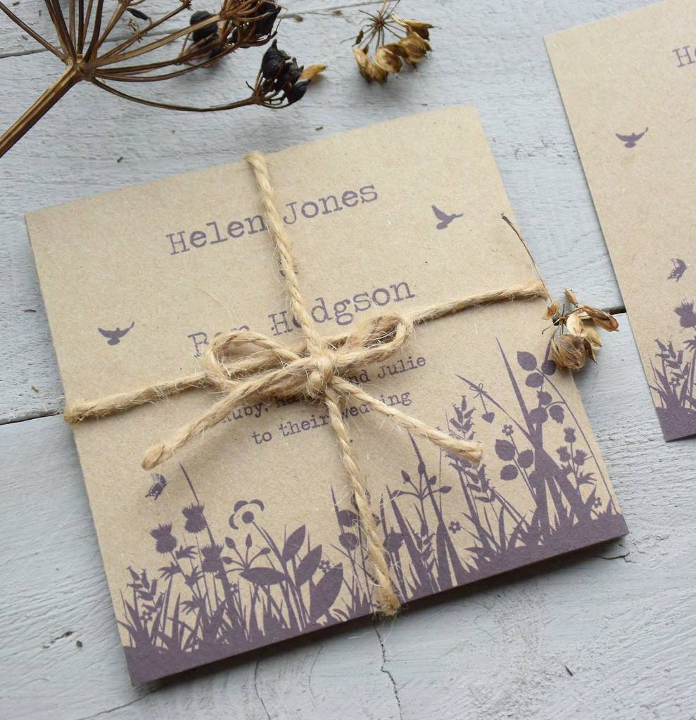 Recycled Wedding Invitations: Recycled Wildflower Tri Folded Wedding Invitation By Paper