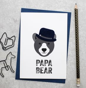 Papa Bear Fathers Day Card With Felt Hat