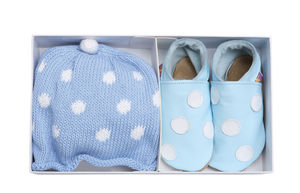 Boys Starchild Polka Dot Baby Blue Shoes Gift Set