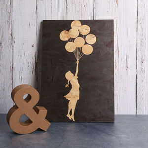 Banksy Balloon Girl Print On Wood - what's new