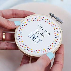 Miniature Embroidery Hoop Art 'You Are Quite Lovely' - home accessories