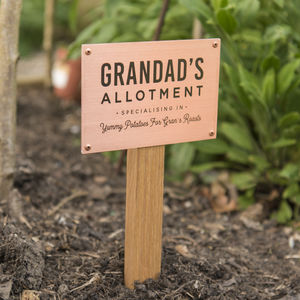 Personalised Solid Copper And Oak Allotment Sign - gifts for grandfathers